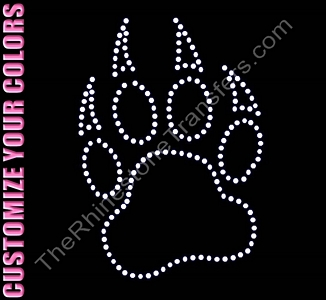 Paw with Claws - 7.0 Inches Tall - Outlined - CUSTOMIZE YOUR COLORS - Rhinestone Transfer