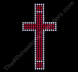 Cross - Red & Clear - Rhinestone Transfer