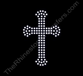 Cross - Small With Flare 3 Rows - Rhinestone Transfer