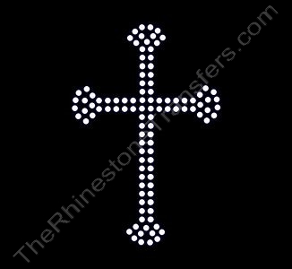 Cross - Small With Flare 2 Rows - Rhinestone Transfer