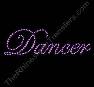 Dancer - Fancy Script - Pink - Rhinestone Transfer