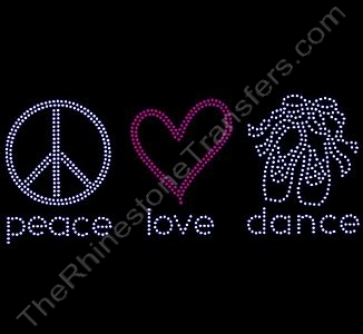 peace love dance - with Ballet Shoes - Rhinestone Design File Download