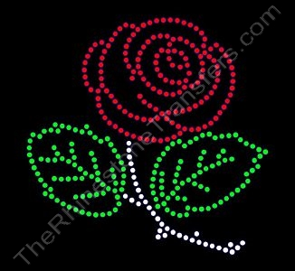 Rose - 2 Leaves & Stem - CUSTOMIZE YOUR COLORS - Rhinestone Transfer