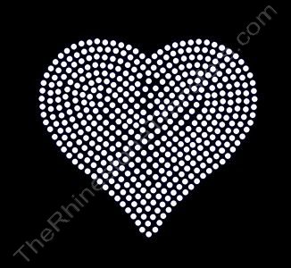 Heart - 4 Inches - Clear - Rhinestone Transfer