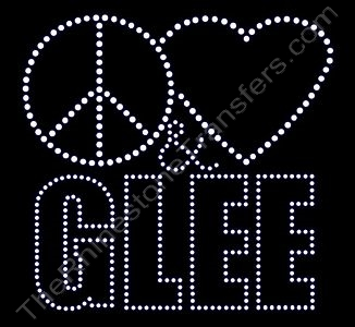Peace Heart (Not Filled) & GLEE - Upper Case - Rhinestone Design File Download