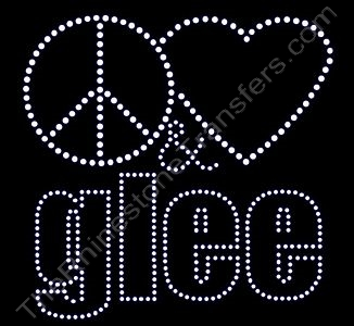 Peace Heart (Not Filled) & glee - Lower Case - Rhinestone Design File Download