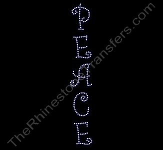 PEACE - Vertical - Rhinestone Design File Download