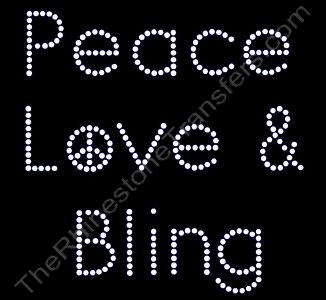 Peace Love & Bling - Rhinestone Design File Download