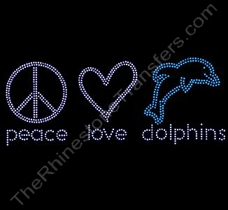 peace love dolphins - 1 - Rhinestone Design File Download
