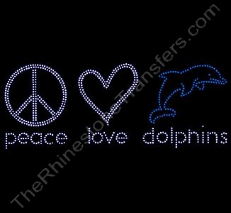 peace love dolphins - 2 - Rhinestone Design File Download