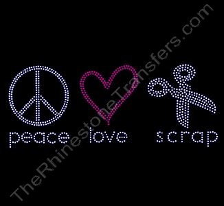 peace love scrap - Rhinestone Design File Download