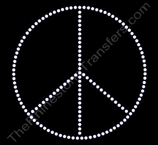 Peace Sign - 6 Inches - ss16 Stones - Single Row - Rhinestone Design File Download