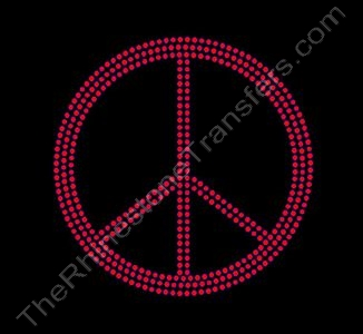 Peace Sign - 5 Inches - Red - Rhinestone Transfer