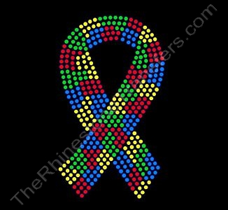 Autism Ribbon - 5 Inches - Rhinestone Transfer