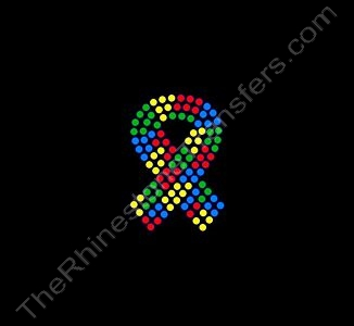 Autism Ribbon - 2 Inches - Rhinestone Transfer