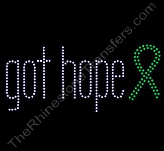 got hope - with Green Ribbon - Rhinestone Transfer