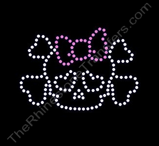 Skull and Crossbones - with Pink Bow 2 - Rhinestone Design File Download