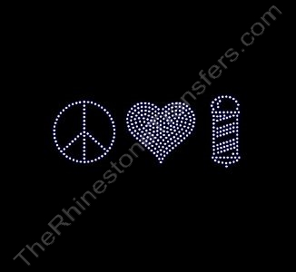 Peace Heart Barber - Medium - Clear - Rhinestone Transfer