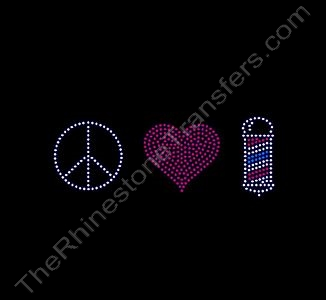 Peace Heart Barber - Medium - Clear & Red & Blue - Rhinestone Transfer