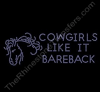 cowgirls like it bareback - with Horse - Rhinestone Design File Download