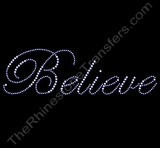 Believe - Fancy Script - 7.8 Inches - Rhinestone Design File Download
