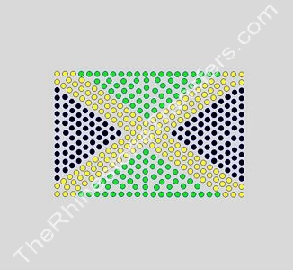 Flag: Jamaica - 4 Inches - ss10 Stones - Rhinestone Transfer