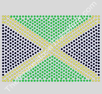 Flag: Jamaica - 6 Inches - ss10 Stones - Rhinestone Transfer