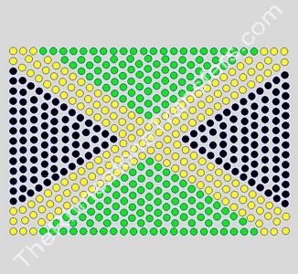 Flag: Jamaica - 6 Inches - ss16 Stones - Rhinestone Transfer