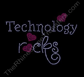 Rocks with Red Hearts - Technology rocks - Rhinestone Transfer