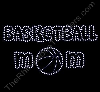 BASKETBALL MOM - with Basketball in MOM - Bubble Font - Rhinestone Design File Download