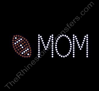 Football MOM - with Football - Small - Rhinestone Design File Download