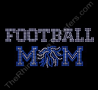 FOOTBALL MOM - with Pom - Varsity Font - Blue - Rhinestone Design File Download