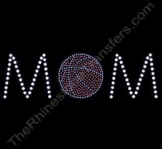 MOM - with Basketball - Style 1 - Rhinestone Transfer