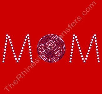 MOM - with Soccer Ball - Style 1 - Rhinestone Transfer