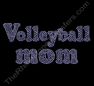 Volleyball mom - Bubble Letters - Rhinestone Transfer