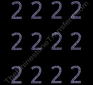 2 Inches Numbers - 2 Rows Stones - Number 2 - Sheet of 12 - Rhinestone Transfer
