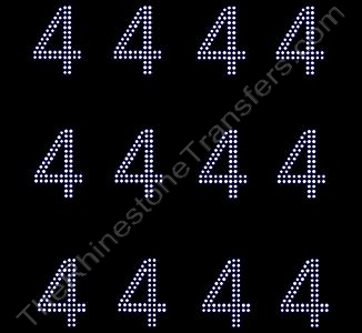2 Inches Numbers - 2 Rows Stones - Number 4 - Sheet of 12 - Rhinestone Transfer