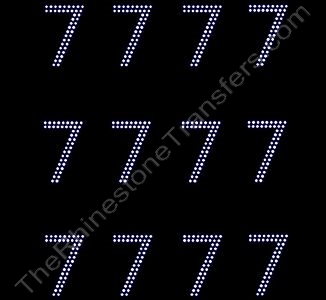 2 Inches Numbers - 2 Rows Stones - Number 7 - Sheet of 12 - Rhinestone Transfer
