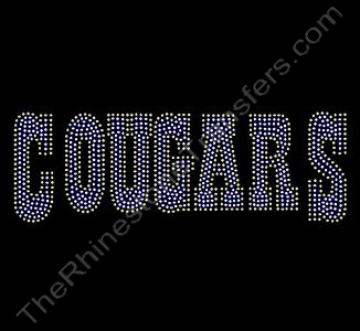 COUGARS - Clear with Citrine Outline - Style 1 - Rhinestone Design File Download