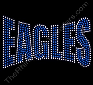 EAGLES - Banner Font - Capri Blue with Clear Outline - Rhinestone Design File Download