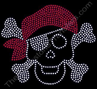 Skull and Crossbones with Bandana - Red - Rhinestone Design File Download