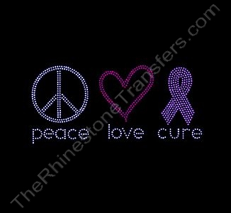 peace love cure - with ss6 Stones - Rhinestone Transfer