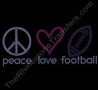 peace love football - Rhinestone Transfer
