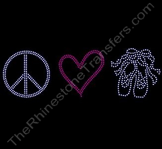 Peace Heart Ballet Shoes - Rhinestone Transfer