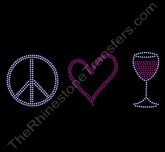 Peace Heart Red Wine - Rhinestone Transfer
