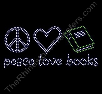 peace love books - Rhinestone Transfer