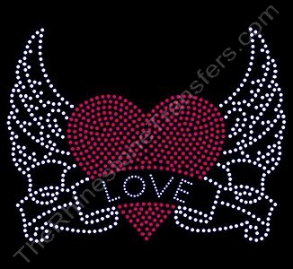 LOVE Inside Winged Heart - Rhinestone Transfer