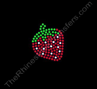 Strawberry - 2 Inch Height - Style 1 - Rhinestone Transfer