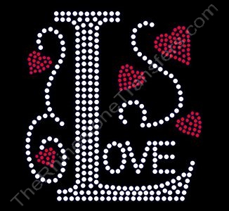 Love with Large L and Red Hearts - Rhinestone Transfer