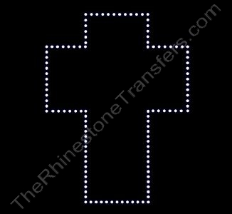 Cross - LARGE - Not Filled - Rhinestone Transfer